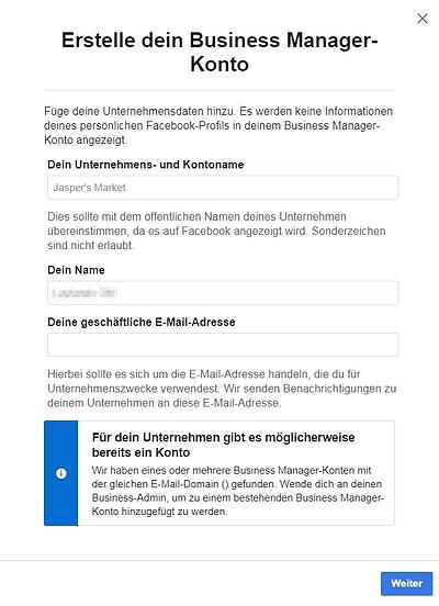 facebook business manager konto erstellen