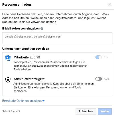 personen zum facebook business manager einladen