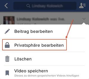Facebook Live – Privatsphäre-Einstellungen eines Beitrags bearbeiten