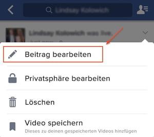 Facebook Live - Video-Beitrag bearbeiten