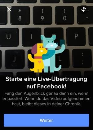 Pop-up-Fenster beim ersten Aufruf der Facebook Live-Funktion