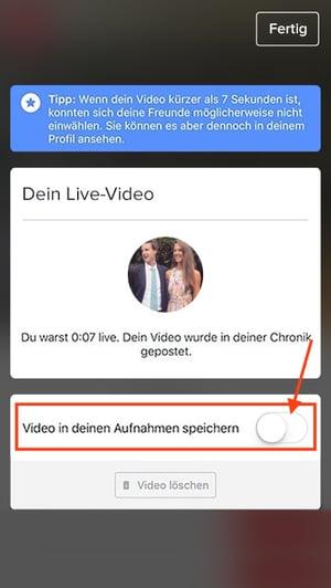 Video nach der Live-Übertragung speichern