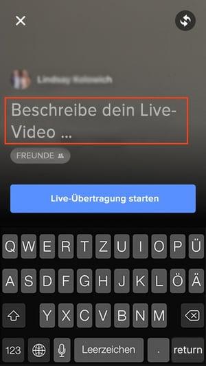 Geben Sie eine Beschreibung für Ihr Facebook Live-Video ein.