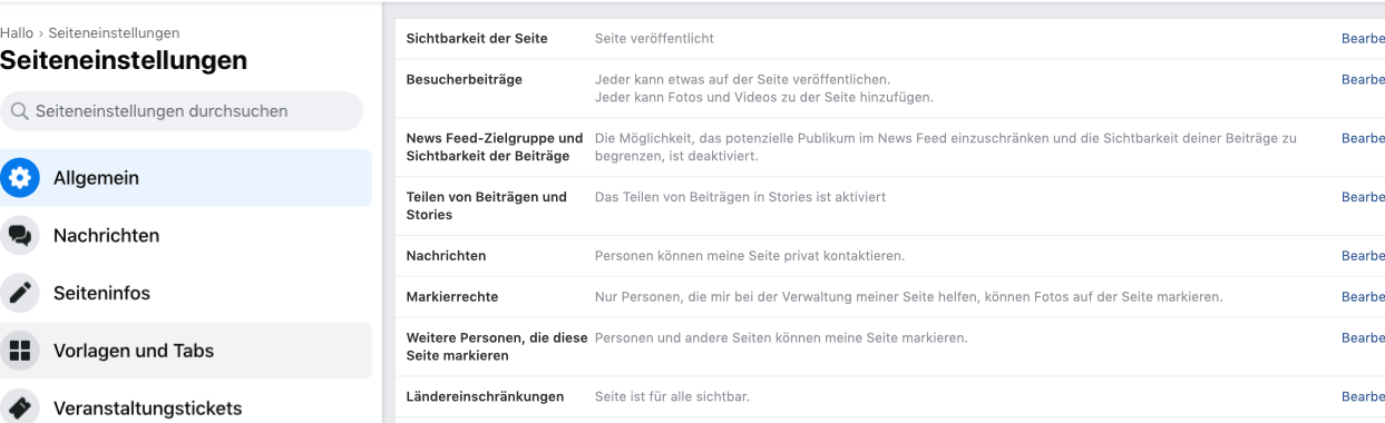 Facebook Shop Seiteneinstellungen