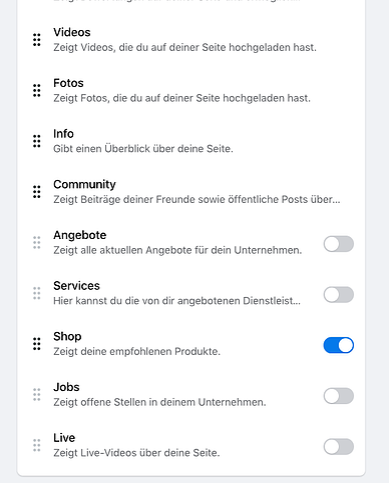 Facebook Shop in den Seiteneinstellungen aktivieren