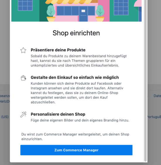 Facebook Shop im Commerce Manager einrichten
