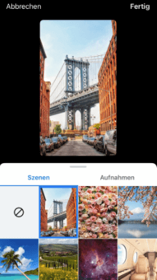 greenscreen function in the facebook app
