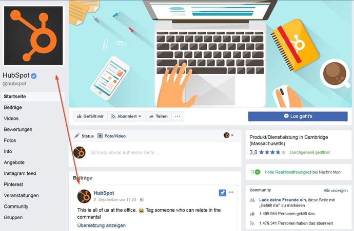 Das Profilbild auf einer Unternehmensseite