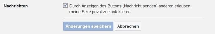 Einstellung für private Nachrichten auf Facebook-Unternehmensseiten