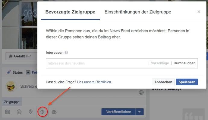 Zielgruppendefinition für Facebook-Beiträge