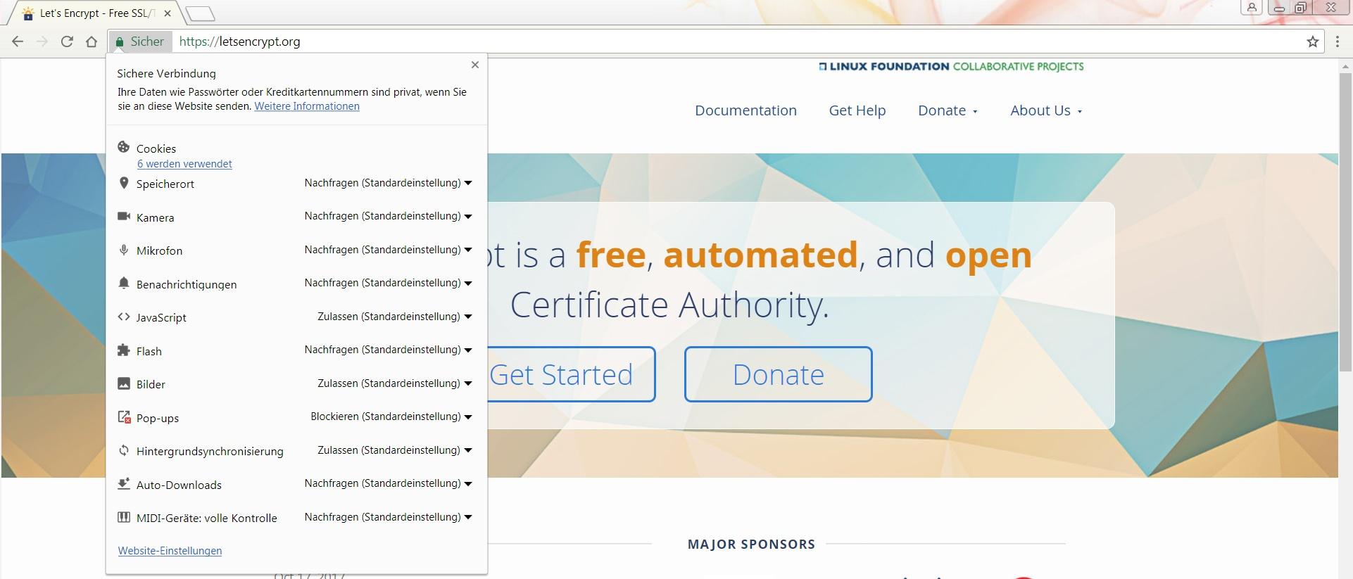 Informationen zur Seitensicherheit in Google Chrome