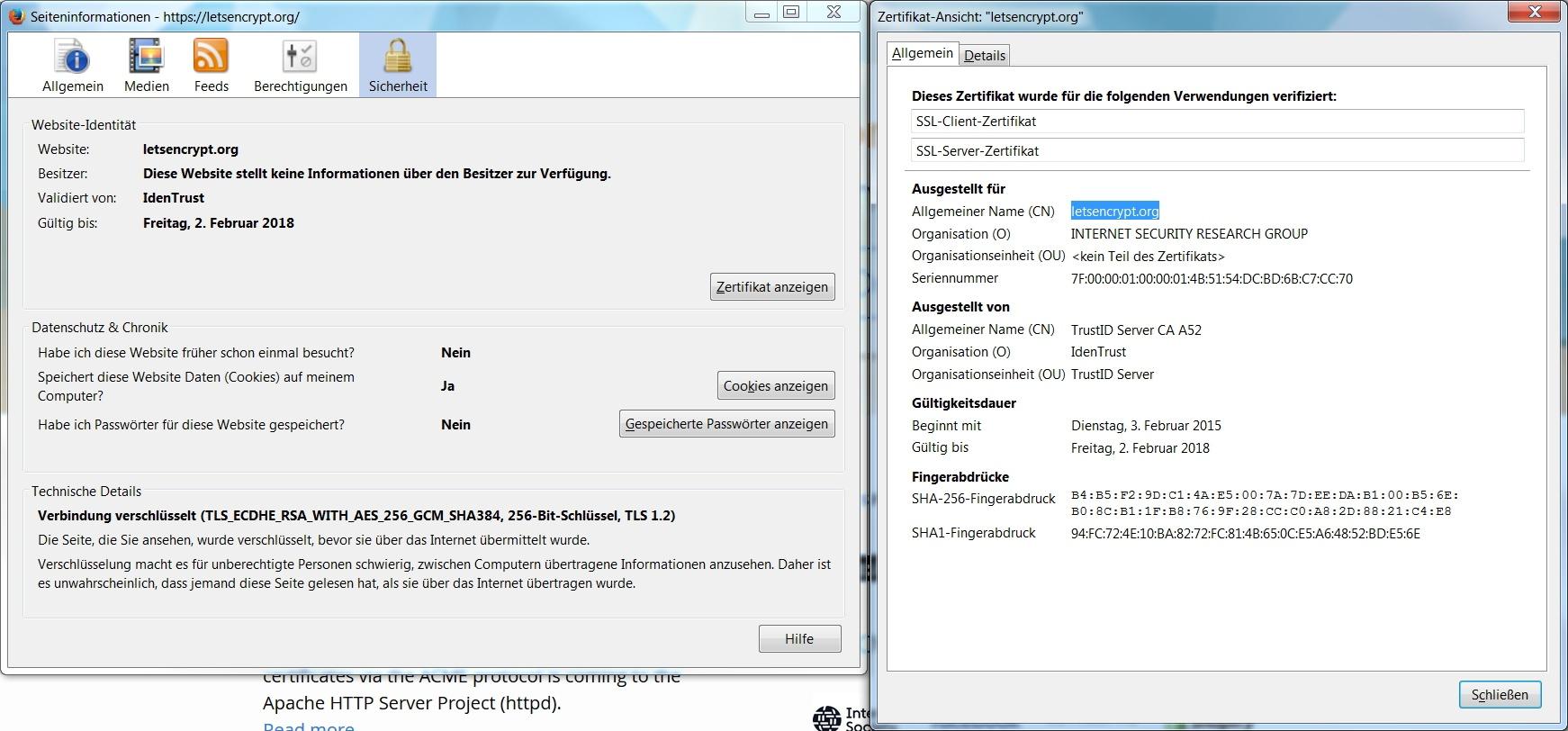 Informationen zur Seitensicherheit in Mozilla Firefox
