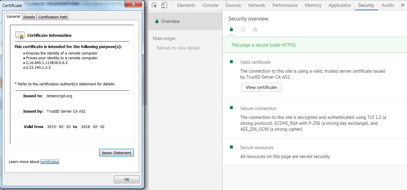 SSL-Zertifikatinformationen in Google Chrome
