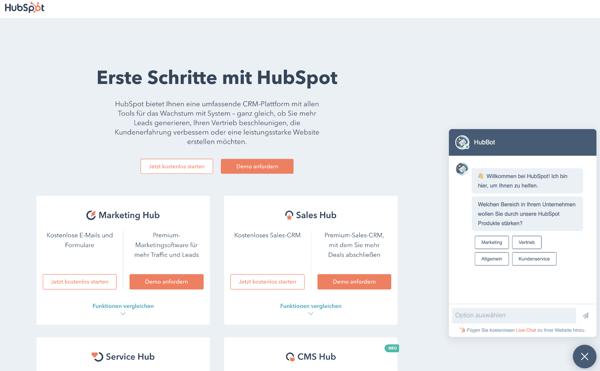 Chatbot auf der HUbSpot Webseite