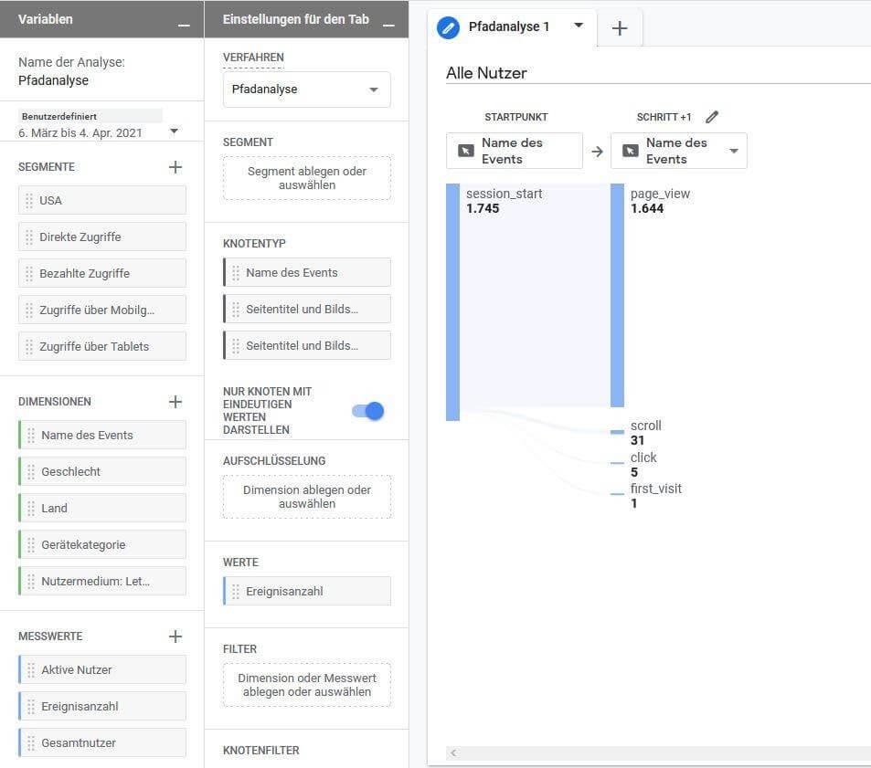 Google Analytics Dashboard Parameter einstellen