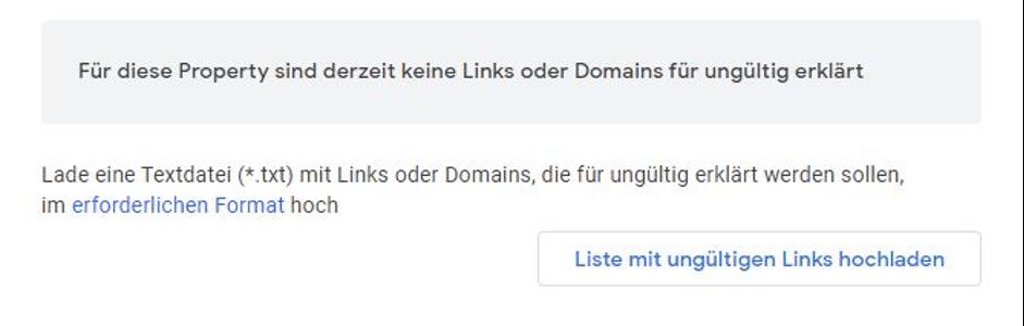 Google Disavow Tool Liste mit ungültigen Links hochladen