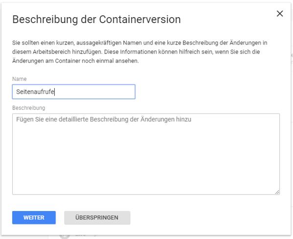 GTM Beschreibung der Containerversion