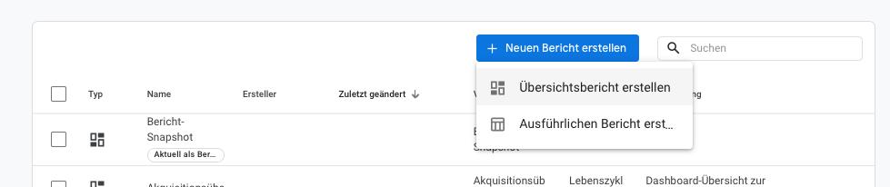 Google-Analytics 4 Übersichtsbericht erstellen
