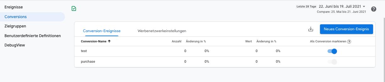 Google-Analytics Neues Conversion-Ereignis
