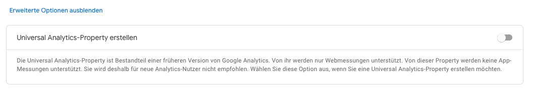 Google-Analytics 4 property anlegen
