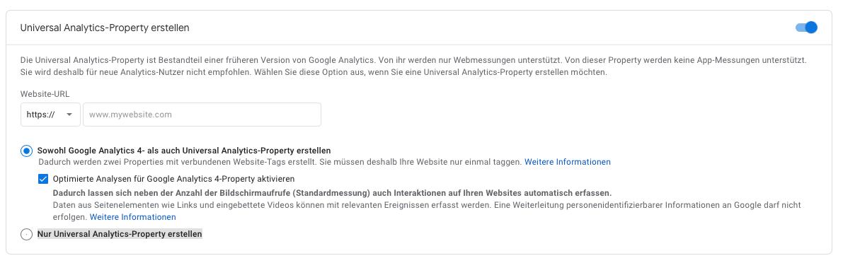 Google-Analytics 4 und universal property anlegen