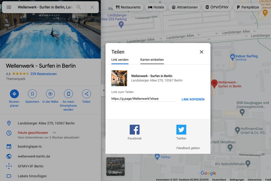 Google-Maps-iframe einbindung vom wellenwerk berlin beispiel