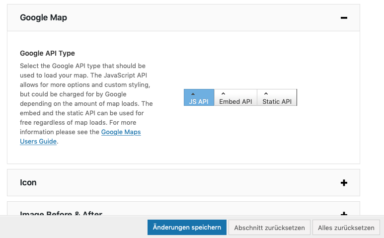 Google-Maps API einbindentyp auswählen