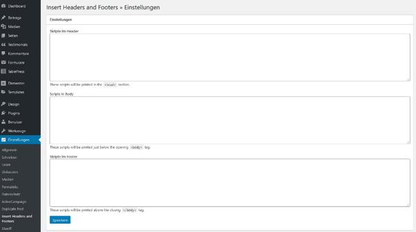 HTML-Code einbinden über das Plugin Insert Headers and Footers