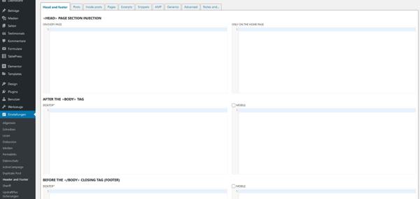 HTML-Code einbinden über das Plugin Head, Footer and Post Injections