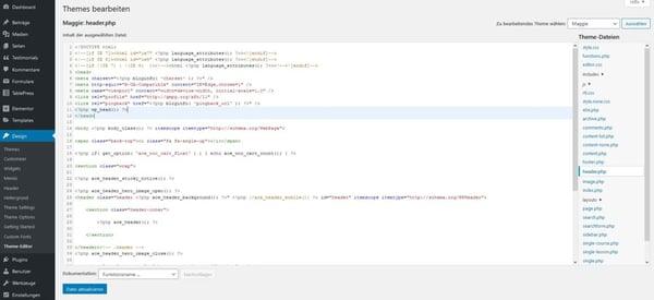 WordPress-Head manuell durch HTML-Editor bearbeiten