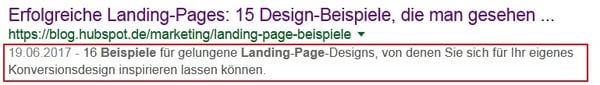 Google Suchergebnis mit erweiterter Meta-Beschreibung