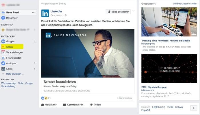 Facebook-Seitenfeed