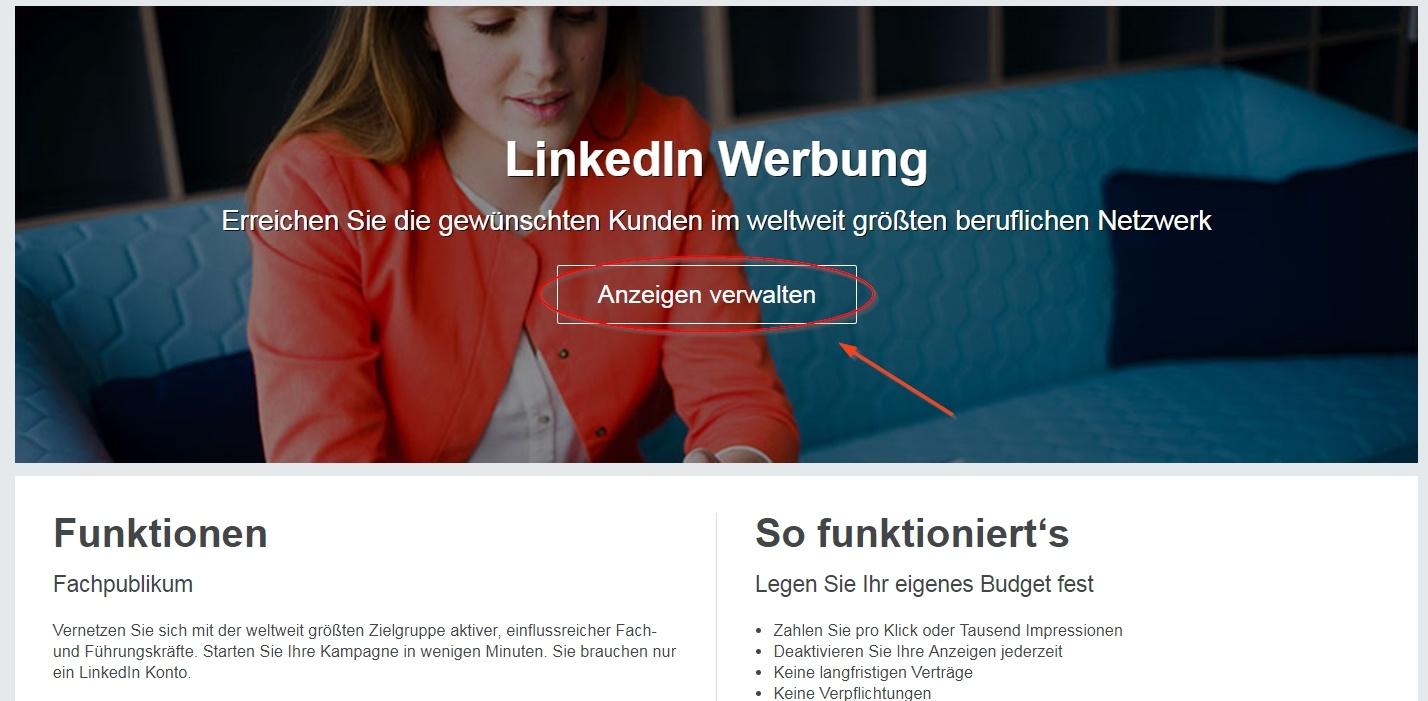 Login für die Anzeigenplattform von LinkedIn