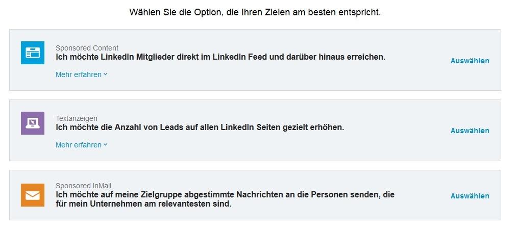 Die verschiedenen Arten von Kampagnen bei LinkedIn Ads