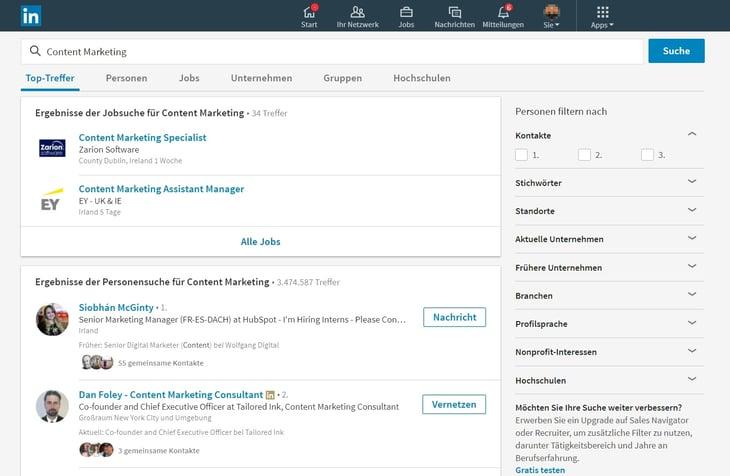 HubSpot Marketing Blog - Neue LinkedIn-Features - Suchoberfläche