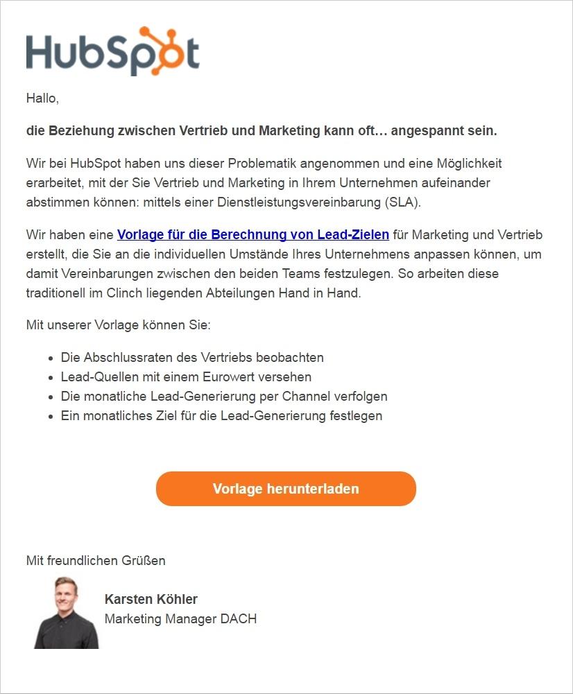 HubSpot - Ansprechende Marketing-E-Mails schreiben - Beispiel von HubSpot