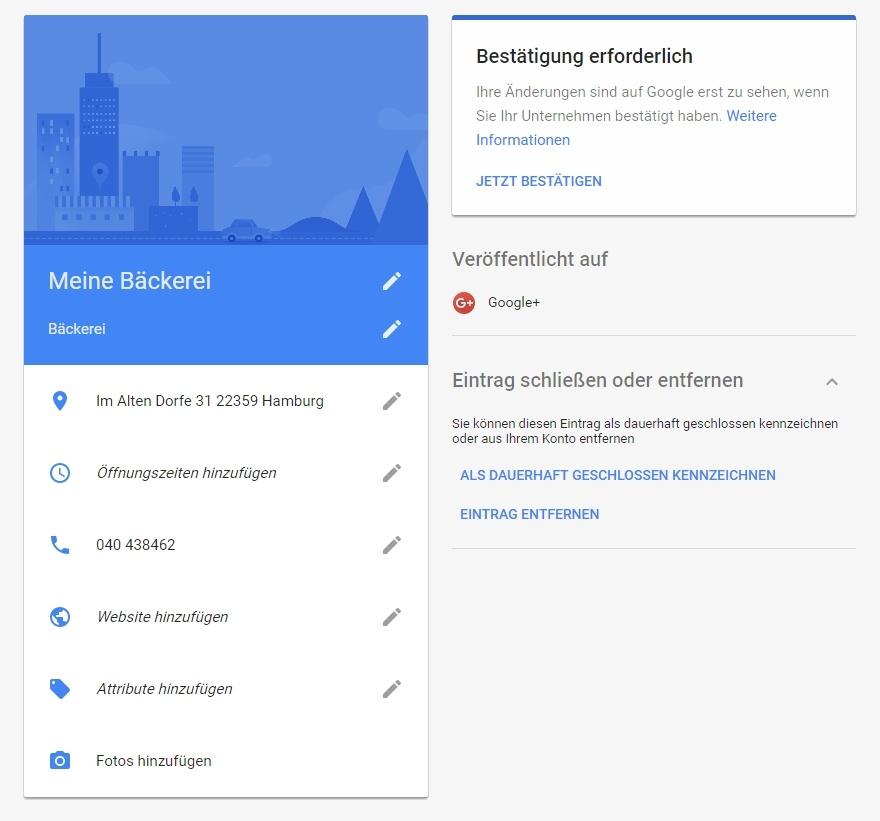 Unternehmensinformationen bei Google My Business bearbeiten