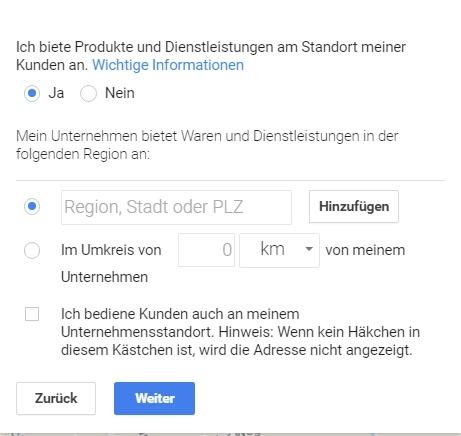 Lieferinformationen für neuen Eintrag bei Google My Business