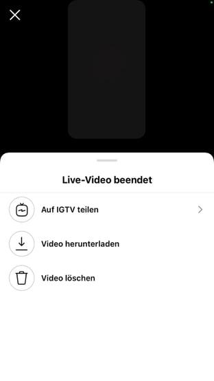 Instagram Live Video Video auf IGTV teilen