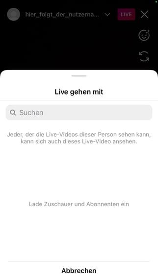 Instagram Livestream mit jemand gemeinsam starten