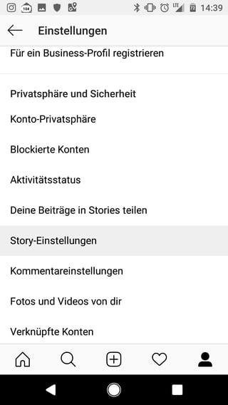 Instgram Stories Einstellungen