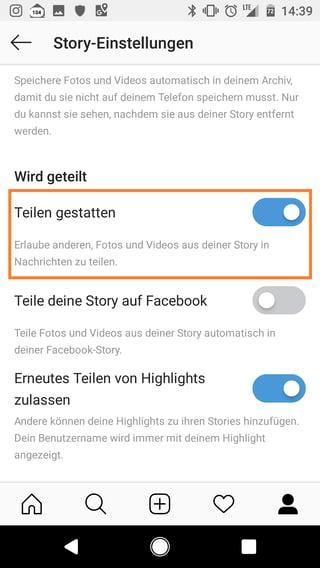 Instagram Stories Teilen gestatten