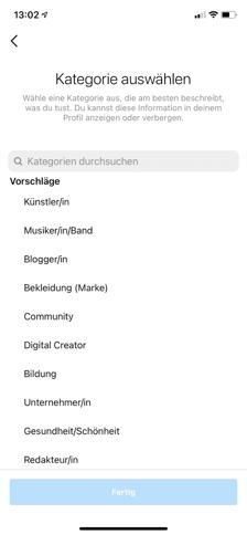 Instagram profil Kategorie bearbeiten