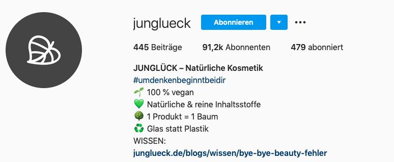 Instagram Profilname und Beschreibung von jungglueck