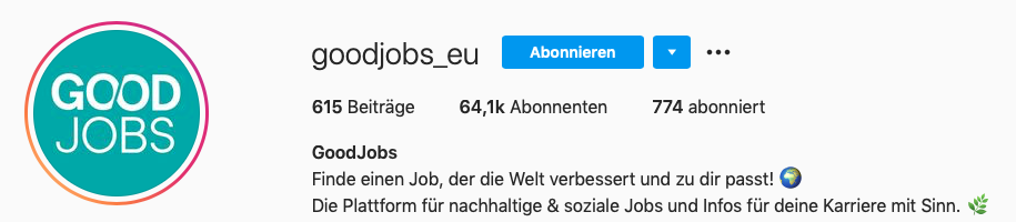 Instagram Steckbrief von Goodjobs