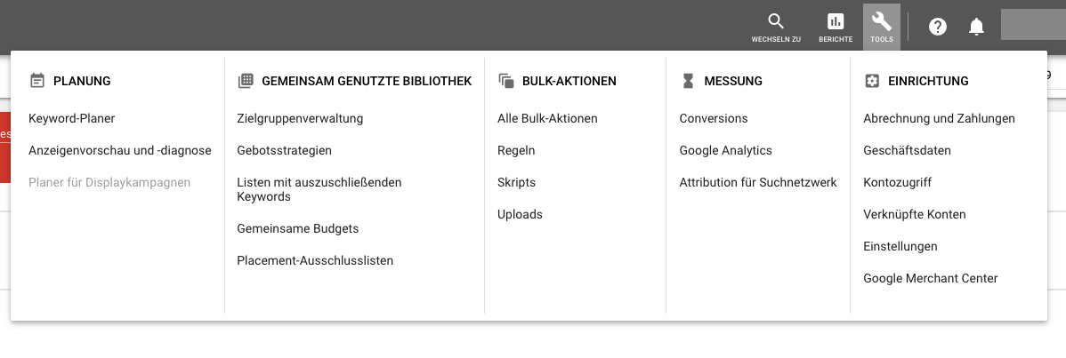 Keyword-Planner-Tool in Adwords finden