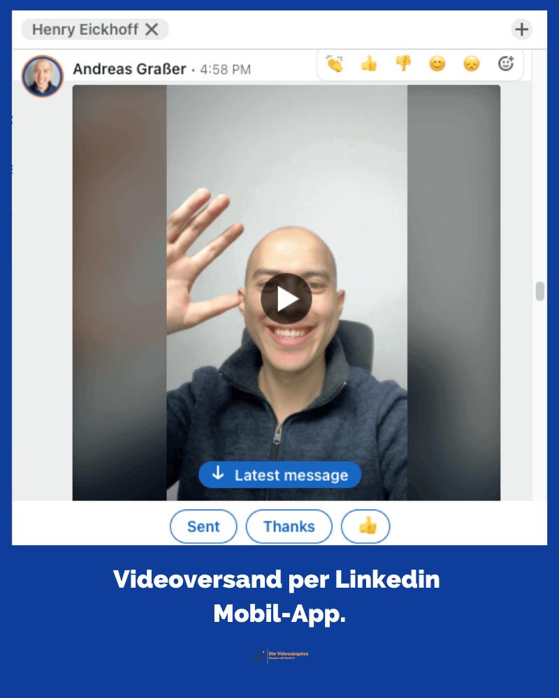 Beispiel Einbettung des Videos über die LinkedIn Mobile-App