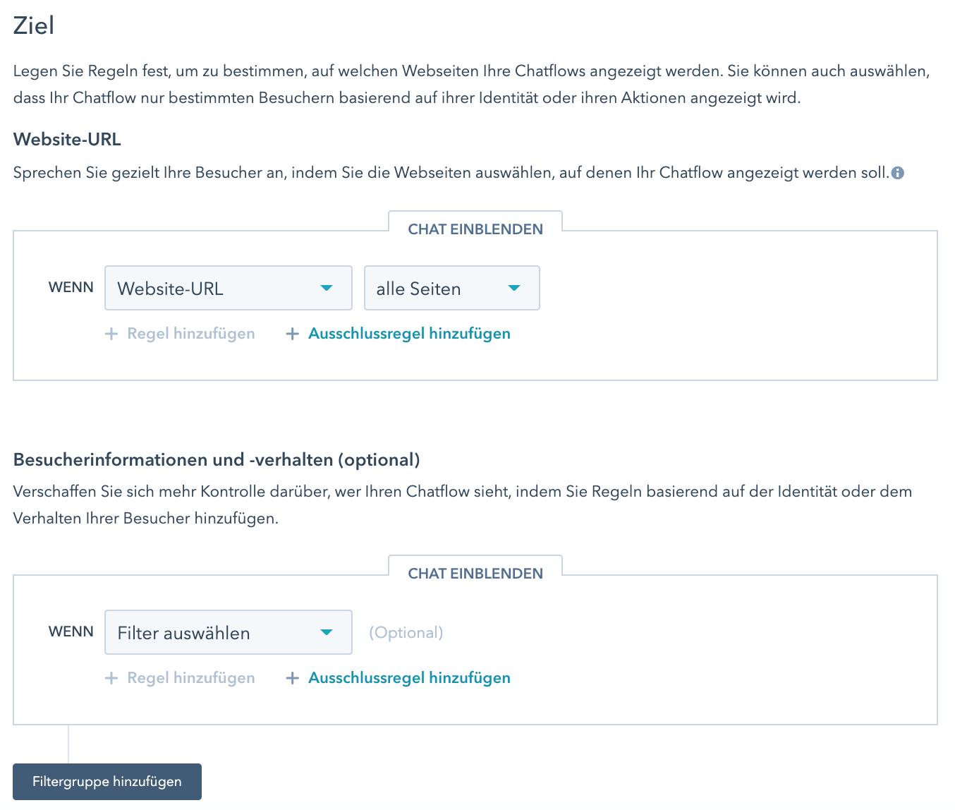 Einstellen auf welcher Seite der Live Chat angezeigt werden soll