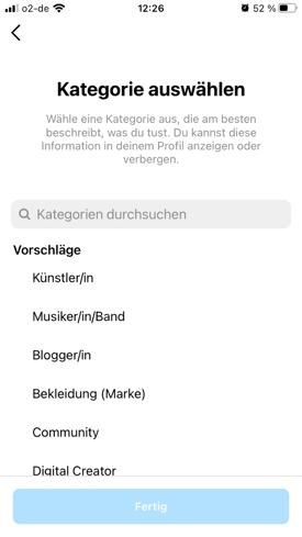 Instagram business kategorie wählen