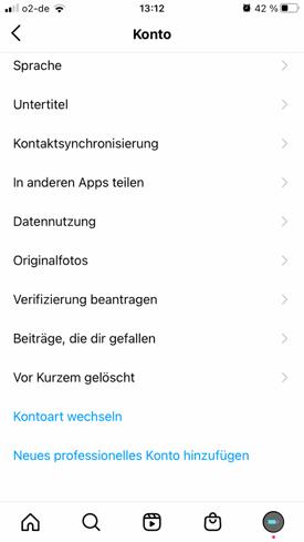 Instagram Konto auswählen